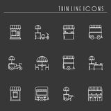 Street food retail thin line icons set. Food truck, kiosk, trolley, wheel market stall, mobile cafe, shop, tent, trade Stock Photography