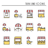 Street food retail thin line icons set. Food truck, kiosk, trolley, wheel market stall, mobile cafe, shop, tent, trade Royalty Free Stock Photo