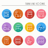 Street food retail thin line icons set. Food truck, kiosk, trolley, wheel market stall, mobile cafe, shop, tent, trade Royalty Free Stock Images