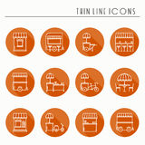 Street food retail thin line icons set. Food truck, kiosk, trolley, wheel market stall, mobile cafe, shop, tent, trade Stock Photos