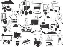 Street Food Sellers. 20 themed EPS images related to street food selling. The number of vector nodes is absolute minimum. The images are very easy to use and stock illustration