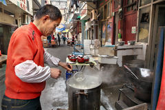 Street food in Shanghai, small outdoor eatery Stock Images