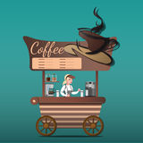 Street food shop coffee. Street coffee grocery store with young sellers Royalty Free Stock Photos