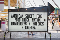 Street food sign outside USA pavilion at Expo 2015 in Milan, Ita Stock Photos