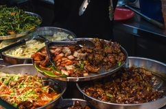 Street food of Singapore. Pork dish. stock photography
