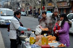 Street Food Stall And Customers Shanghai China Stock Photo