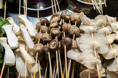 Street food stall with mushroom on sticks, different types - porcini, champignon, Oyster. Chinese food barbecue. Malaysia, Kuala Lumpur stock photography