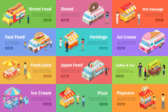 Street Food Stores Isometric Vector Banners. Set of street food stores on wheels with sellers and buyers characters. Cart and van shops with fast food, sweets Royalty Free Stock Image