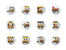 Street food stores round flat color icons Royalty Free Stock Photo