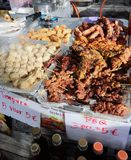 Street food: tempura, dim sum, satay royalty free stock photo
