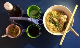 Thai noodle soups. The street food with Thai noodle soup royalty free stock images