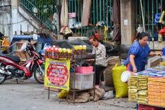 Street food in Thailand. Chiangrai, Thailand - April 14, 2014: People are selling street food in Thailand Stock Image