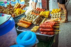 Street food in Thailand fried sausages and Stock Photos