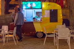 Street food track stall festive in the nigth royalty free stock image
