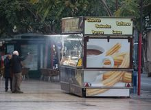 Street food track stall festive royalty free stock images