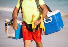 Street food trader. Street food trader on the beach Royalty Free Stock Image