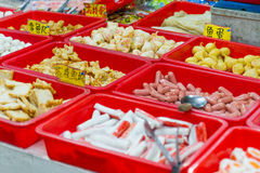 Street food at traditional market in Taiwan Stock Image
