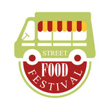 Street Food Truck Cafe Food Festival Promo Sign, Colorful Vector Design Template With Vehicle Silhouette. Fast Food Restaurant On Wheels Event Label Flat Royalty Free Stock Photo