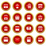 Street food truck icon red circle set Royalty Free Stock Photos