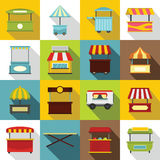 Street food truck icons set, flat style Royalty Free Stock Photo