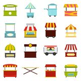 Street food truck icons set in flat style Royalty Free Stock Photography