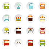 Street food truck icons set in flat style Stock Photography