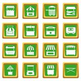 Street food truck icons set green Royalty Free Stock Photography