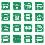 Street food truck icons set grunge Royalty Free Stock Images