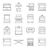 Street food truck icons set, outline style Stock Photo
