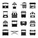 Street food truck icons set, simple style Stock Photos