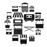 Street food truck icons set, simple style. Street food truck icons set. Simple illustration of 16 street food truck vector icons for web Royalty Free Stock Images