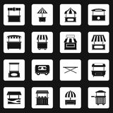 Street food truck icons set squares vector Royalty Free Stock Photography