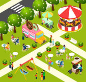 Street Food Truck Isometric Composition Poster Royalty Free Stock Image
