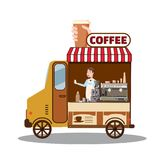 Street food truck, van. Fast food delivery. Coffee van, shop, barista, Cartoon design vector illustration, isolated stock illustration