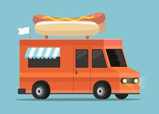 Street food truck. Vector street food truck in a flat style vector illustration