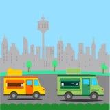 Street food trucks  illustration Stock Photos