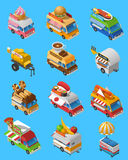Street Food Trucks Isometric Icons Set Royalty Free Stock Images