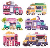 Street Food Trucks and Vans Icons. City fast food trucks and wagons set in flat design. Ice cream parlor, coffee van, beach bar, popcorn cart and summer juice vector illustration