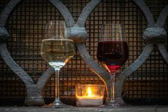Street food: an evening can be made romantic tasting of good candlelight wine stock photo