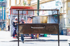 Street Food. VALPARAISO - NOVEMBER 07: Street food in the districts of the protected UNESCO World Heritage Site of Valparaiso on November 7, 2015 in Valparaiso stock images