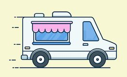 Street food van. Fast food delivery. Flat design vector illustration isolated on background vector illustration
