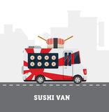 Street food van. Fastfood delivery. Flat design Stock Images