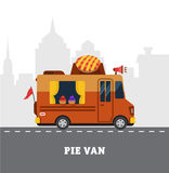 Street food van. Fastfood delivery. Flat design Royalty Free Stock Images