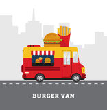 Street food van. Fastfood delivery. Flat design Stock Photo