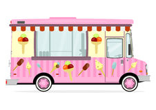 Street food van. Funny cartoon street food truck on a white background. Flat vector royalty free illustration