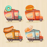 Street food van in retro style. Fast food delivery. Fast food trailers. Hot dog, ice-cream, donuts, burger shop on wheels Stock Image