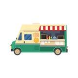 Street Food Van. Street food truck shop on white background. Mobile kitchen van vector illustration royalty free illustration