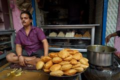 Street food at Varanasi. Puri Bhaji being sold at a food stall at Varanasi, Uttar Pradesh, India Royalty Free Stock Images