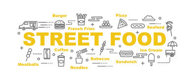 Street food vector banner Stock Images