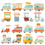Street food vehicles icons set, cartoon style Stock Photography